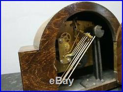 Vintage Retro Light Wooden 8 Day Westminster Chiming Mantle Clock