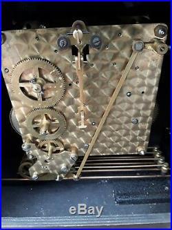 Vintage SMITHS 8 DAY MANTLE CLOCK OAK WESTMINSTER CHIMES & KEY