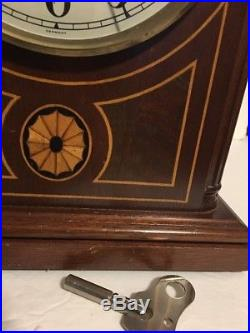 Vintage Seth Thomas Barrister Westminster Chime Mantle Clock Inlay 2 Jewel