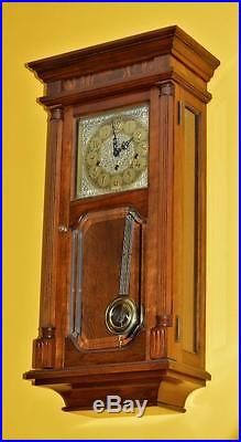 Vintage Sligh -franz Hermle Westminster / Triple Chime Wall Clock. Solid Cherry
