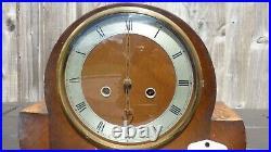 Vintage Smiths Walnut Westminster Mantle Mantel Wind Up Chime Clock Original Key