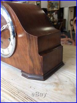 Vintage Westminster Chime Mantle Clock & Key Good Working Order