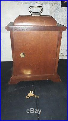 Vintage Wooden Case Hamilton Westminster Chime Carriage Shelf Mantle Clock