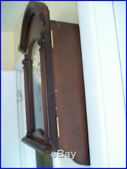 Vintage Wooden Pendulum Wall Clock Franz Hermle Porcelain Dial Westminster Chime