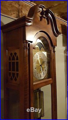 Vintage Working SETH THOMAS Mahogany Westminster Chime Grandfather Clock USA