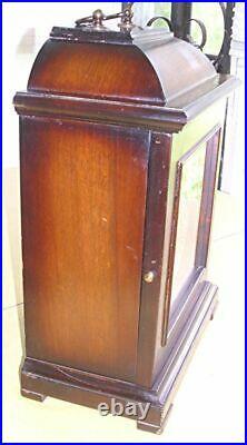 Vtg 8 Day Wind Up Shelf Mantel Clock Westminster Chimes Walnut Case Germany