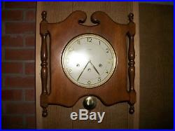 Vtg. Germany Mauthe Westminster Chime Art Deco Mid Century Wood Wall Clock/KEY