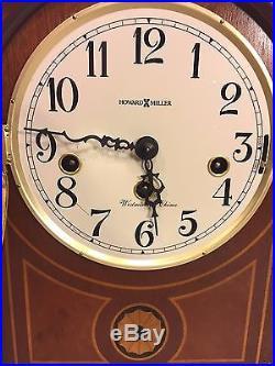 Vtg Howard Miller Mantel Clock Inlaid Wood Case Runs Strikes Westminster Chimes