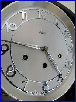 WESTMINSTER CHIME wall clock KIENZLE antique vintage key LEADED GLASS German
