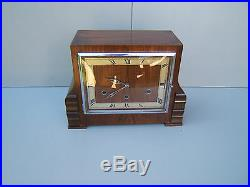 Walnut mantel clock Westminster Whittington + another working key & pen M15
