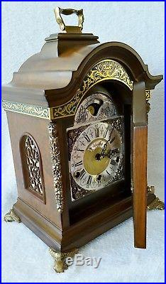 Warmink Clock Westminster Chime Quarter Strike Green Band Nut Wood Moonphase