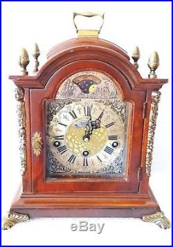 Warmink Mantel Clock Dutch Westminster Quarter Chime 8 Day Nut Wood Moonphase