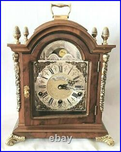 Warmink Westminster Clock 8 Day Burl Wood Moonphase Quarter Chime Mint Condition