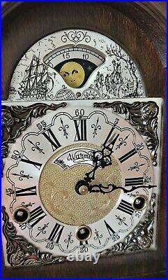 Warmink Westminster Clock Dutch 8 Day Burl Wood Moonphase Quarter Chime Mint
