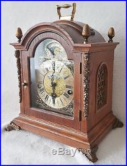 Warmink Westminster Shelf Mantel Clock 1974 Chime Moon Oak Wood Moon Dial Silent