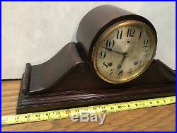 Waterbury Tambour Style Westminster Chime Mantle Table Clock Piggyback Movement