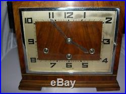 Westminster Chiming Walnut Mantle Clock British Anvil Beautiful 1930's Art Deco