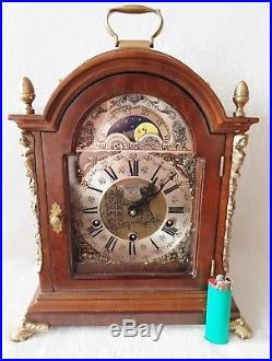 Westminster Clock Warmink Dutch Quarter Chime 8 Day Nut Wood Moonphase