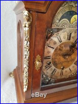 Westminster Clock Warmink Dutch Quarter Chime 8 Day Nut Wood Moonphase