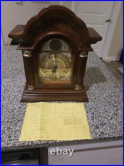 Westminster Tempus Fugit Chime Strike Wood Mantle Clock Quartz 18x14 3/4