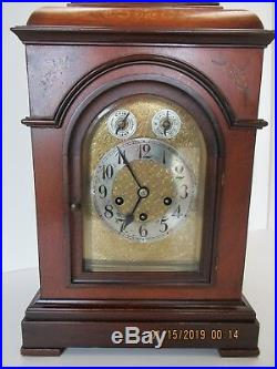 Westminster chime mantle clock in mahogany with inlay
