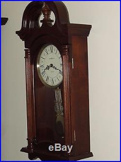 Working Howard Miller USA Mahogany Regulator Westminster Dual Chime Wall Clock